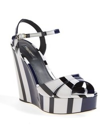 Black and White Horizontal Striped Leather Wedge Sandals