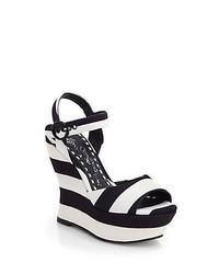 Alice + Olivia Jana Striped Canvas Wedge Sandals Black White