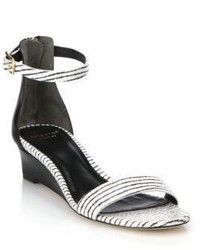 Cole Haan Rossi Striped Snake Embossed Leather Sandals