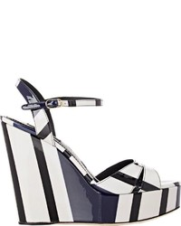 Dolce & Gabbana Striped Ankle Strap Wedge Sandals Black