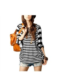 Unique-Bargains Ladies Black White Bar Striped Design Scoop Neck Casual Blouse Xl