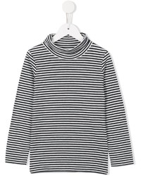 Black and White Horizontal Striped Long Sleeve T-Shirt