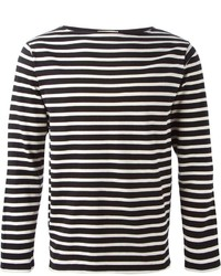 179f91bb520 Black and White Horizontal Striped Long Sleeve T-Shirts for Men ...