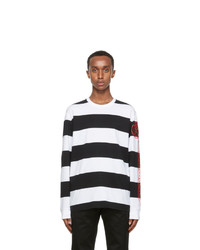 Burberry Black And White Laxley Long Sleeve T Shirt