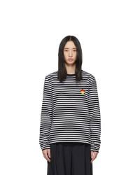AMI Alexandre Mattiussi Black And White Smiley Long Sleeve T Shirt
