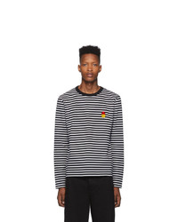 AMI Alexandre Mattiussi Black And White Striped Smiley Edition Long Sleeve T Shirt
