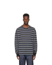 Juun.J Black Stripe Embroidered Long Sleeve T Shirt