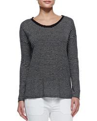 Long sleeve striped tee black medium 209189