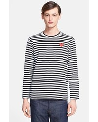 3976e930bd Men's Black and White Horizontal Striped Long Sleeve T-Shirts from ...