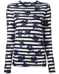 Proenza Schouler Falling Flower Print Striped T Shirt