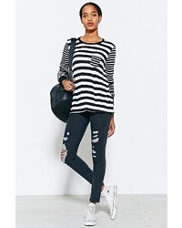 Urban Outfitters Project Social T Long Sleeve Striped Mix Pocket Tee