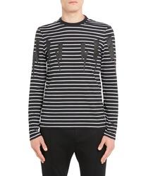 Neil Barrett Stripe Thunderbolt Long Sleeve T Shirt