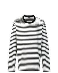 e44e6f6d Black and White Horizontal Striped Long Sleeve T-Shirts for Men ...