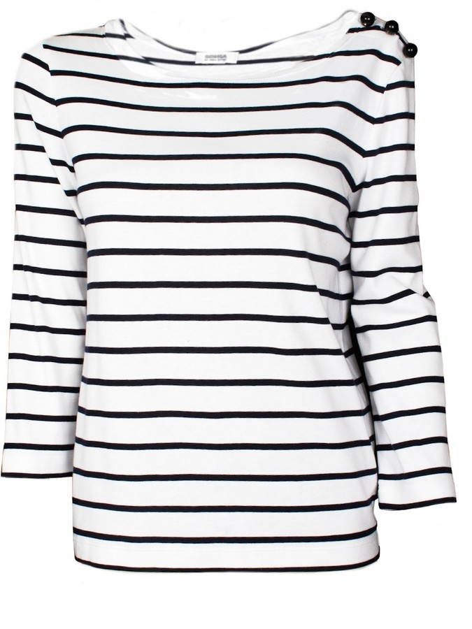 Sonia rykiel sonia by striped 34 sleeve tee for Black and white striped long sleeve shirt women