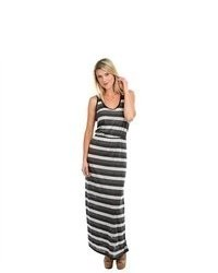 G2 Chic Striped Grey And White Maxi Dress With Solid Chiffon Racerback