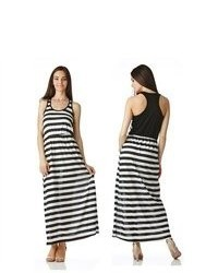 Stanzino Black White Striped Racerback Maxi Dress With Elastic Waist