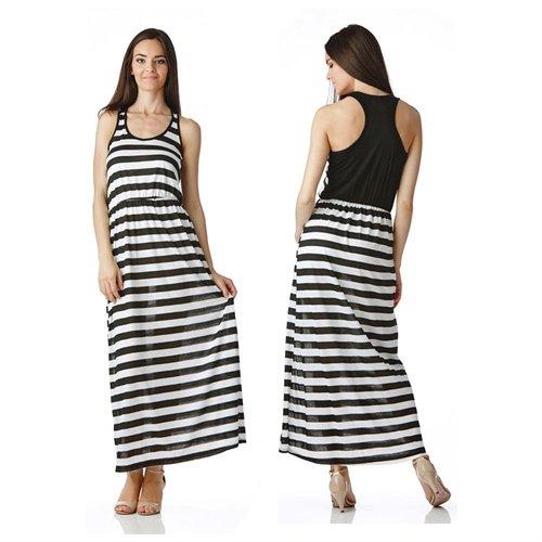 Stanzino Black White Striped Racerback Maxi Dress With Elastic Waist