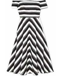 Black and White Horizontal Striped Midi Dress