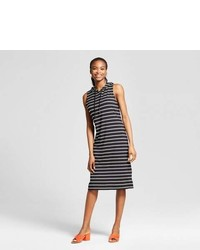 K By Kersh Striped Fitted Midi Sleeveless Dress With Hood K By Kersh Blackwhite