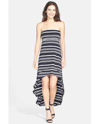 Sybil stripe handkerchief hem strapless dress medium 160584