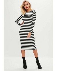 Missguided White Stripe Bodycon Dress