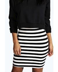 Boohoo Debra Ribbed Mono Stripe Bandage Mini Skirt | Where to buy ...