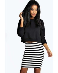 Boohoo Debra Ribbed Mono Stripe Bandage Mini Skirt