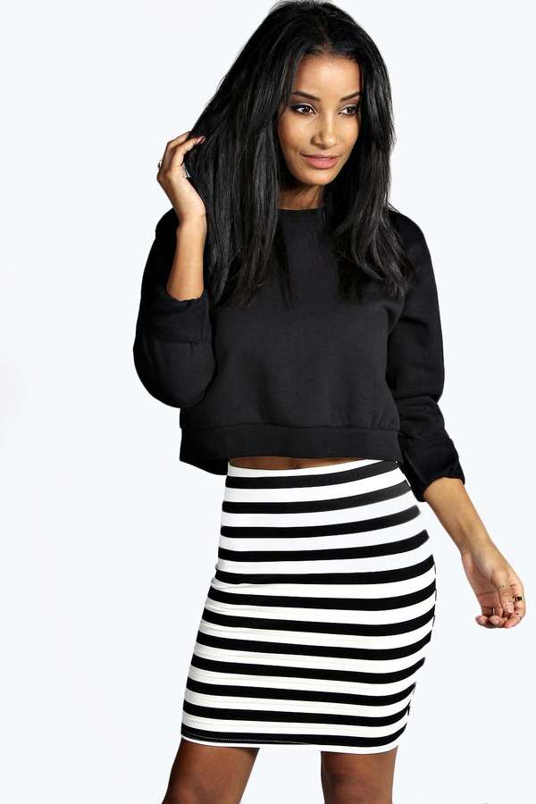 What to wear with grey and white striped skirt – Modern skirts ...