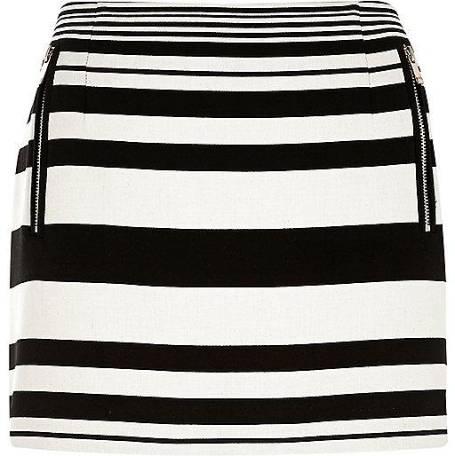 River Island Black And White Stripe Zip Pocket Mini Skirt | Where ...