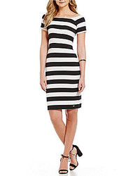 Armani Exchange Off The Shoulder Striped Bodycon Dress