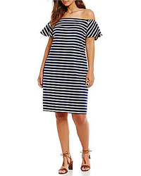 Lauren Ralph Lauren Plus Striped Off The Shoulder Dress