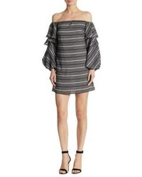 Scripted Tiered Off The Shoulder Dress