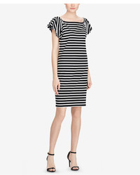 6c36ce4dcf44 Black and White Horizontal Striped Off Shoulder Dresses for Women ...