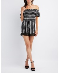Charlotte Russe Striped Off The Shoulder Smocked Romper