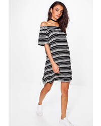 Boohoo Tall Amber Stripe Off Shoulder Swing Dress