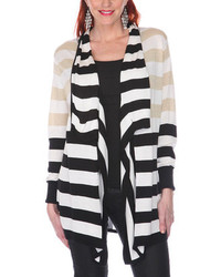 Black Beige White Stripe Open Cardigan Plus