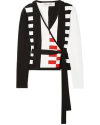 Diane von Furstenberg Ellis Intarsia Knit Wrap Cardigan