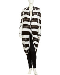 L.A.M.B. Striped Pointelle Cocoon Cardigan Blackwhite