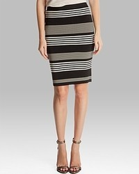 Halston Heritage Pencil Skirt Striped Knit Sweater
