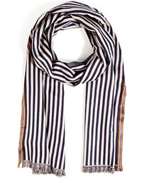 Paul Smith Accessories Cotton Silk Striped Scarf