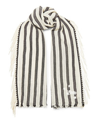 Loewe Paulas Ibiza Fringed Striped Cotton Scarf