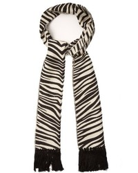 Saint Laurent Zebra Jacquard Cotton Knit Scarf