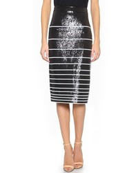 Black and White Horizontal Striped Sequin Pencil Skirt