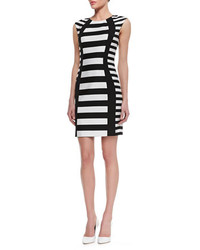 Black and White Horizontal Striped Sheath Dress