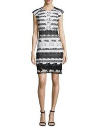 Sachin + Babi Sachin Babi Cap Sleeve Striped Guipure Lace Cocktail Dress Blackwhite
