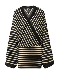 Balmain Wrap Effect Metallic Striped Stretch Jersey Mini Dress
