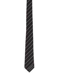 Alexander McQueen Black White Silk Ruled Logo Tie