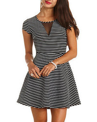 Black and White Horizontal Striped Skater Dress