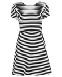 ... Topshop Bonded Cotton Jersey Skater Dress With Sailor Stripe Print All  Over Cut With A Fitted 847aa84f5