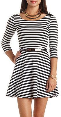 9ede3b4bcc83e Charlotte Russe Gold Belted Striped Skater Dress, $29 | Charlotte ...